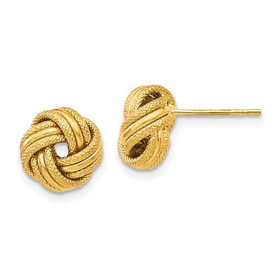 14K Knot Polished D/C Post Earrings - 8 mm