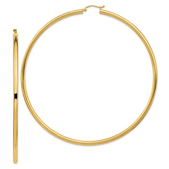 14k Lightweight 3mm Polished Hoop Earrings - 90 mm