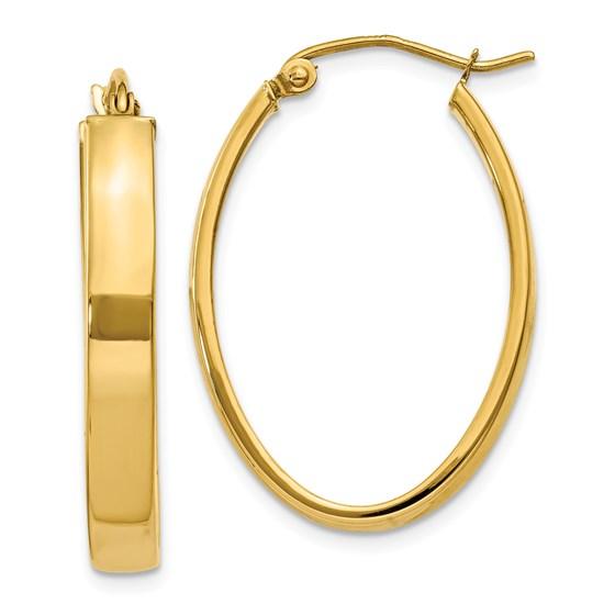 14k Lightweight Oval Hoop Earrings