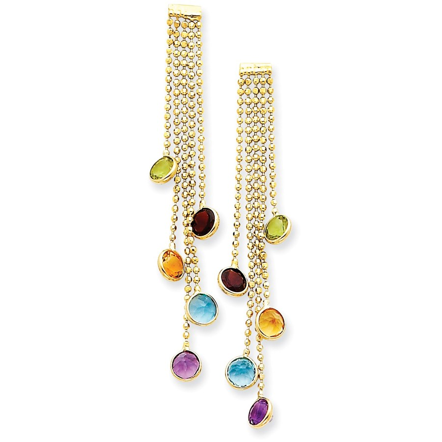 14k Multi-colored Gemstone Dangle Earrings