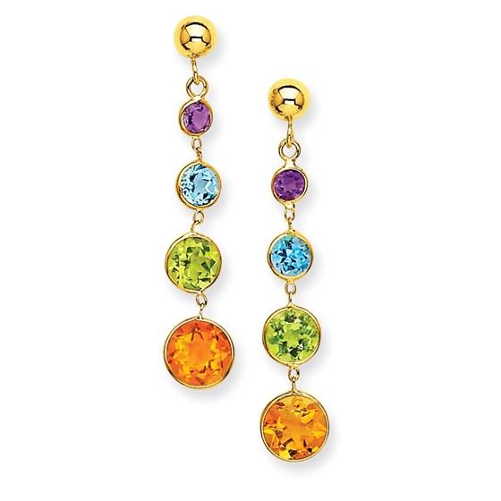 14k Muti-Gemstone Dangle Post Earrings