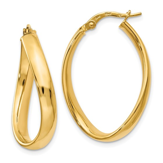 14K Oval Polished Earrings - 29.5 mm