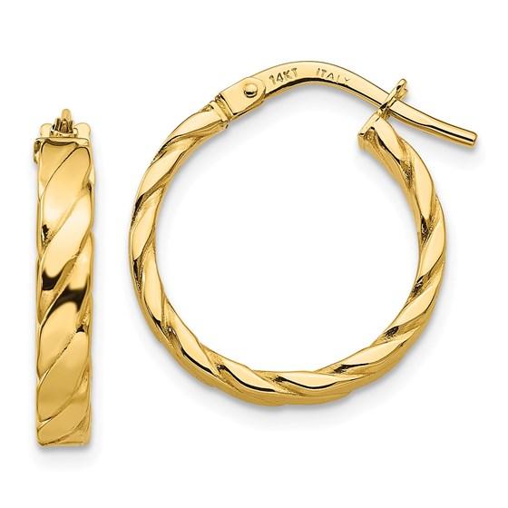 14k Patterned Hoop Earrings