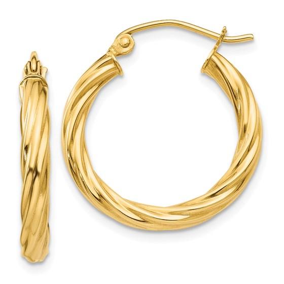 14k Polished 2.75 mm Twisted Hoop Earrings