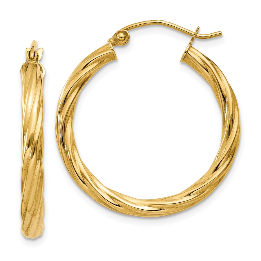 14k Polished 3.25 mm Twisted Hoop Earrings