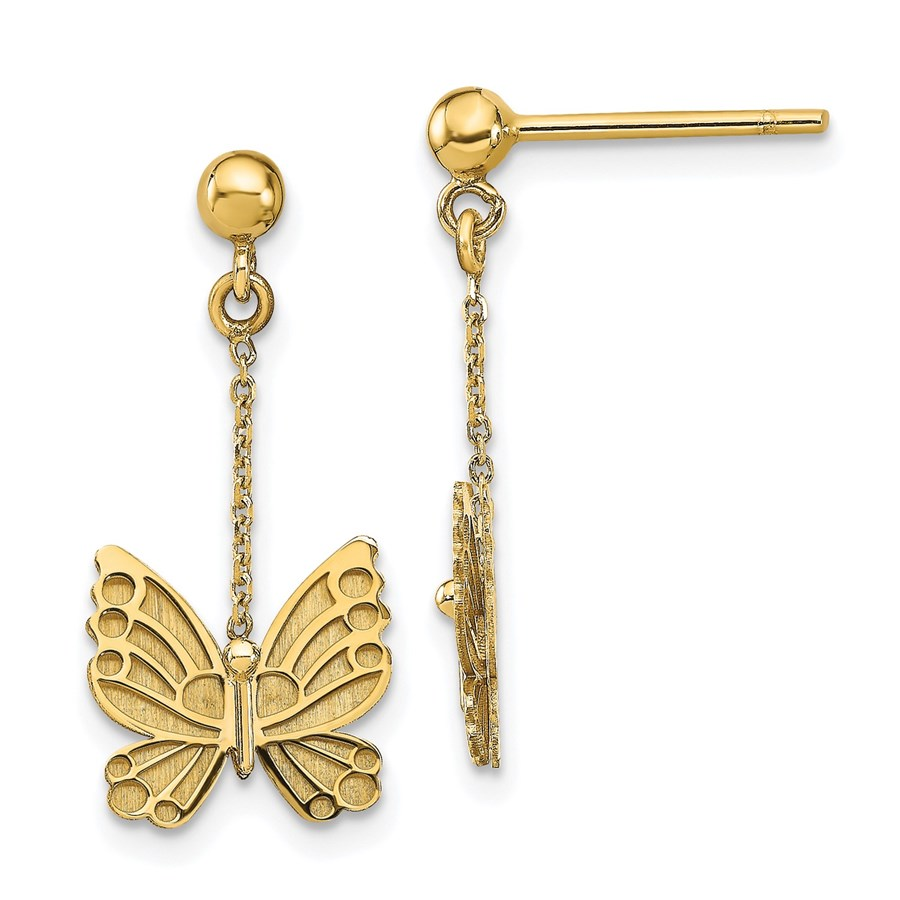 14K Polished and Brushed Butterfly Earrings - 23.1 mm