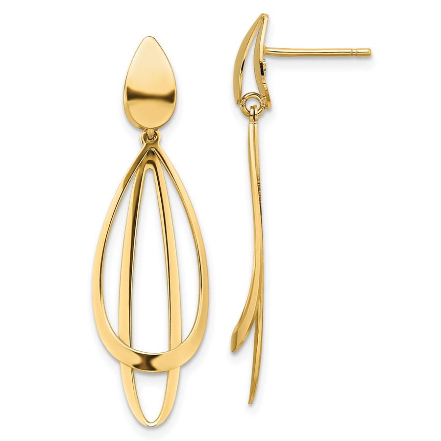 14K Polished and Brushed Post Dangle Earrings - 38 mm