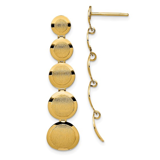 14K Polished and Brushed Post Dangle Earrings - 39.6 mm