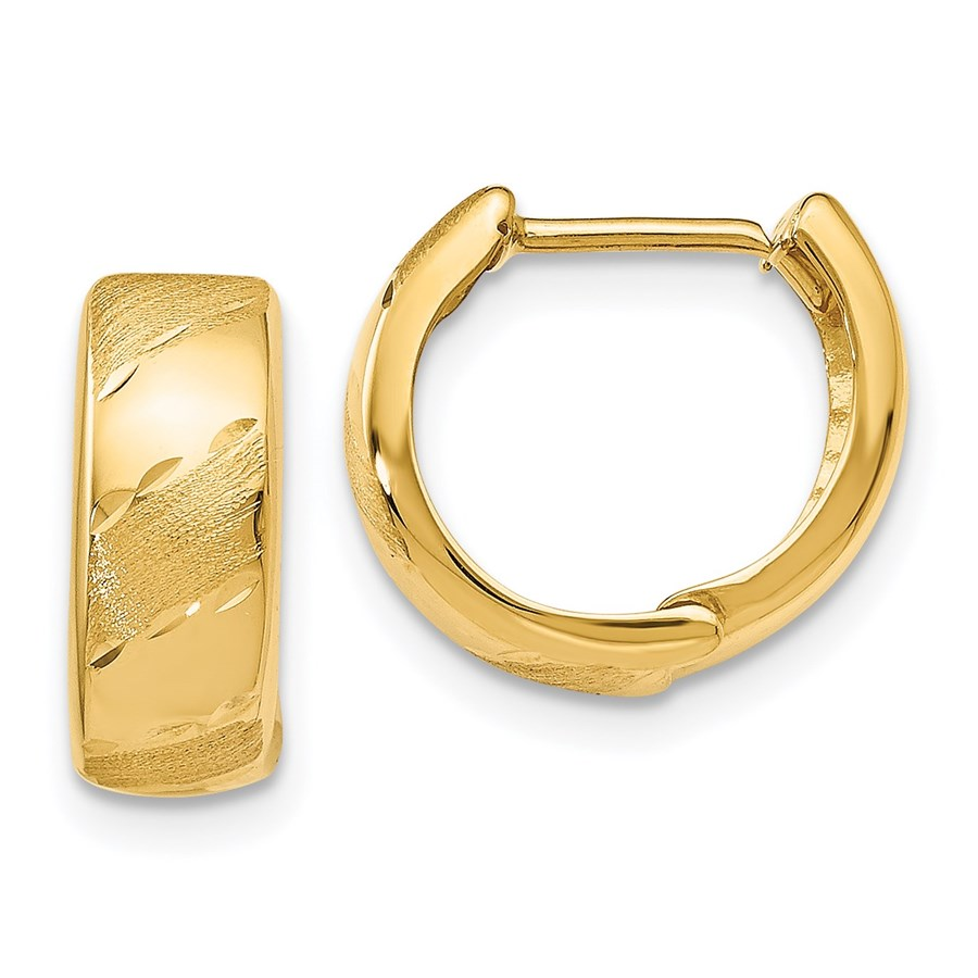 14K Polished and Satin Hinged Hoop Earrings - 12 mm