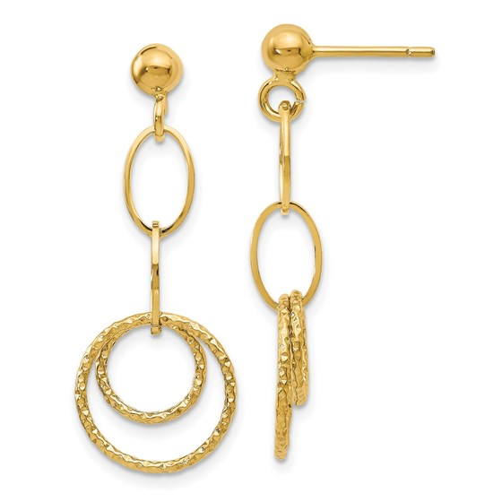 14K Polished and Textured Post Dangle Earrings - 30 mm