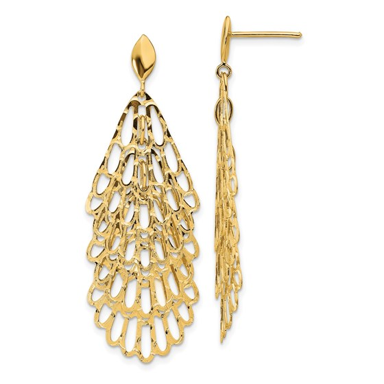 14K Polished and Textured Post Dangle Earrings - 51.4 mm