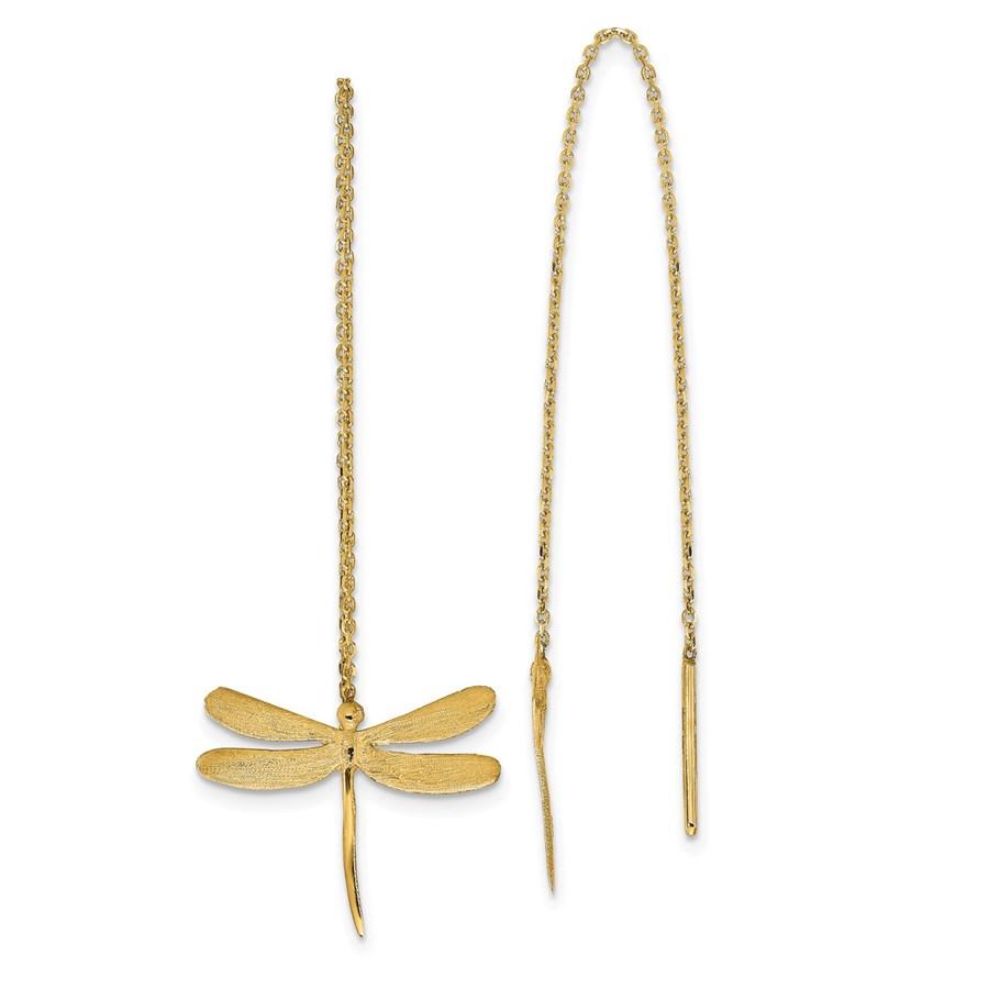 14K Polished Brushed Dragonfly Threader Earrings - 51 mm