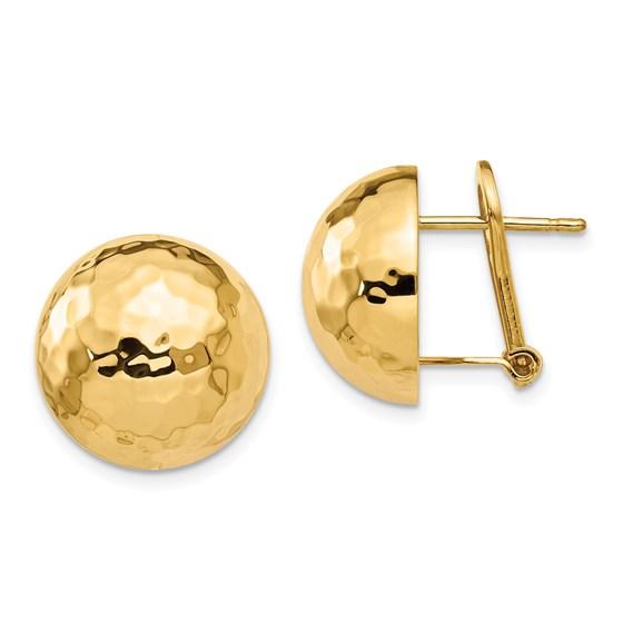 14K Polished Button Omega Back Earrings - 14.95 mm