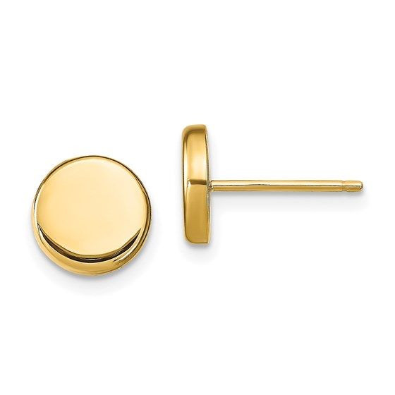 14K Polished Button Post Earrings - 6.6 mm