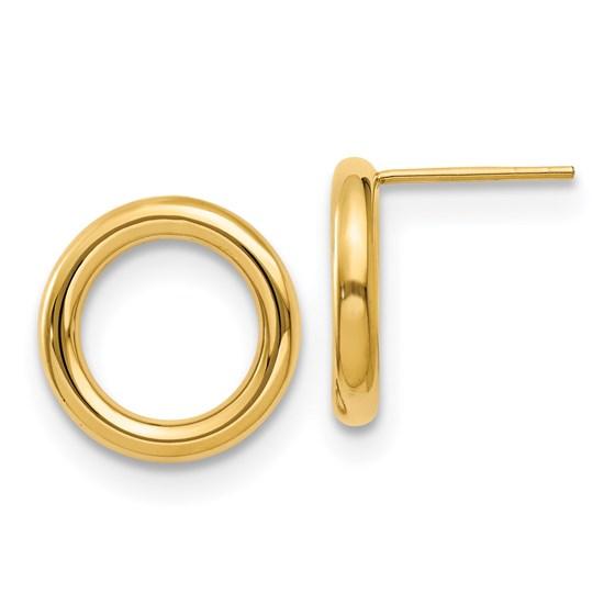 14K Polished Circle Post Earrings - 15 mm