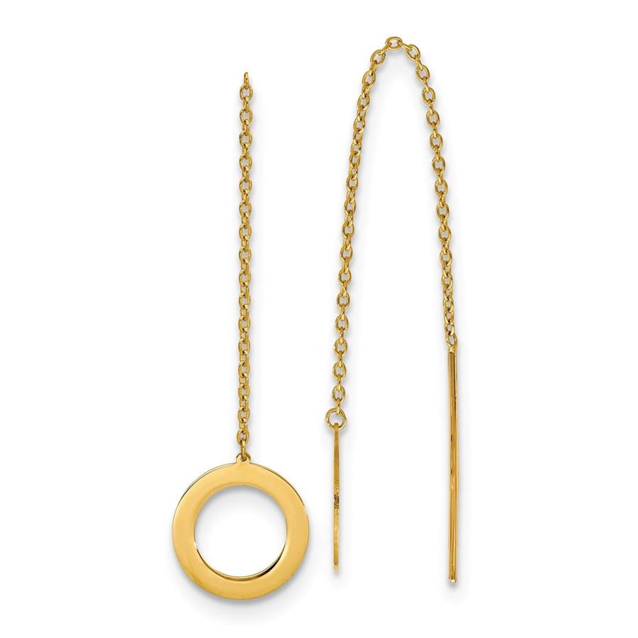 14K Polished Circle Threader Earrings - 94 mm