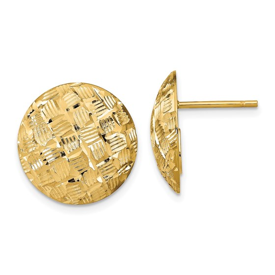 14K Polished D/C Button Post Earrings - 16.5 mm