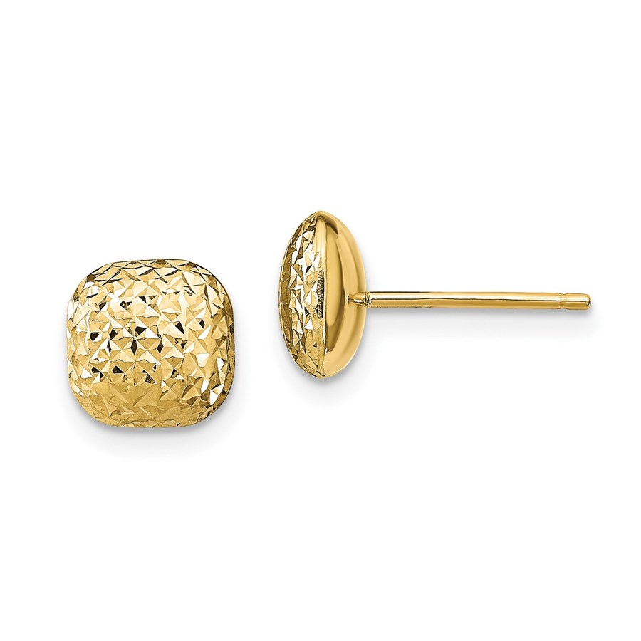 14K Polished D/C Button Post Earrings - 8.95 mm
