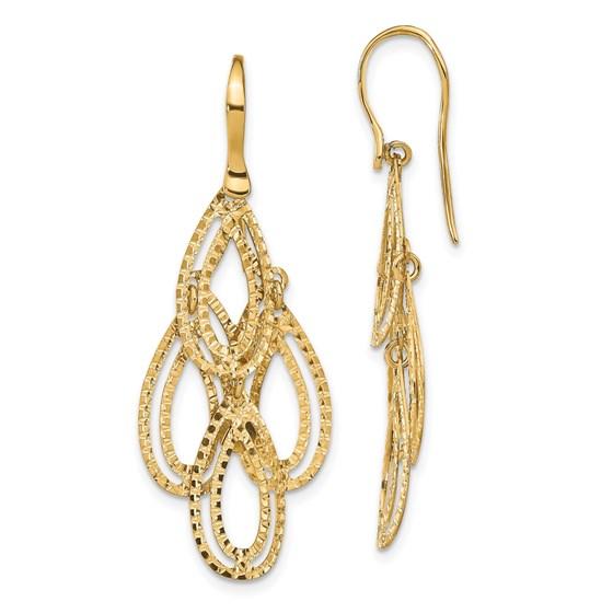 14K Polished D/C Dangle Earrings - 44.3 mm