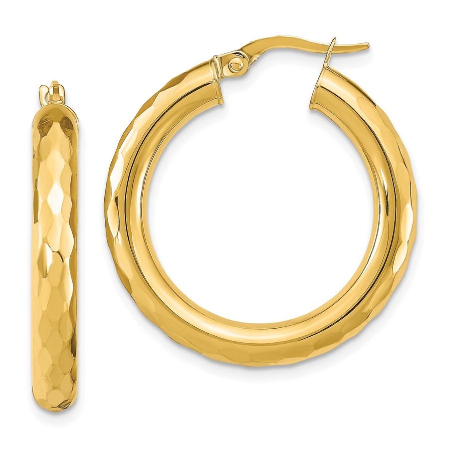 14K Polished D/C Hoop Earrings - 28.83 mm