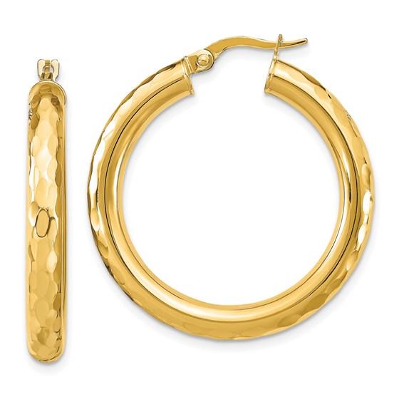 14K Polished D/C Hoop Earrings - 31.23 mm