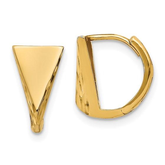 14K Polished D/C Huggie Earrings - 11.5 mm