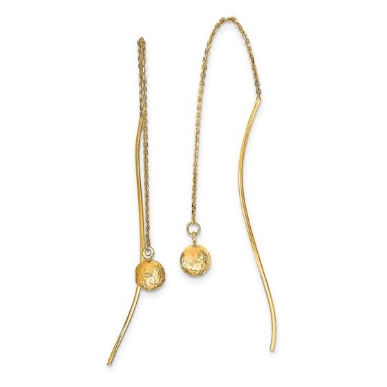 14K Polished D/C Threader Earrings - 54.33 mm