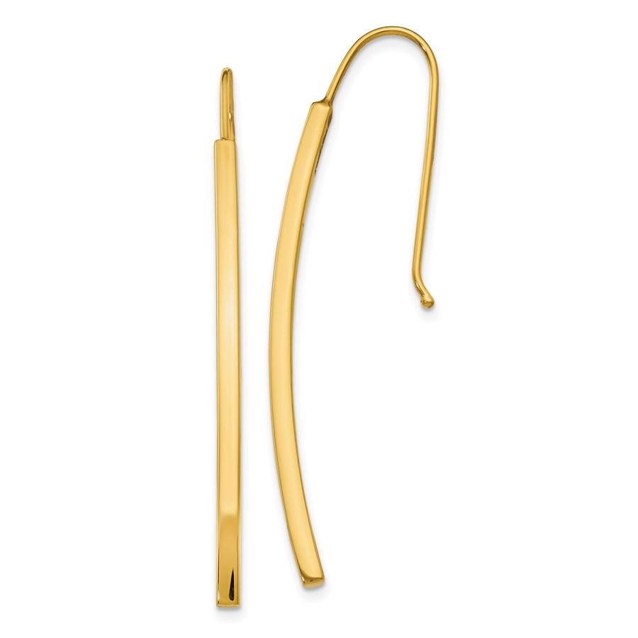 14K Polished Dangle Bar Earrings - 48 mm