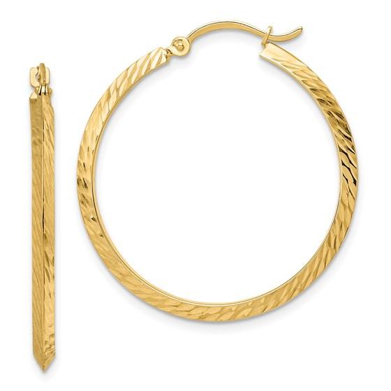 14K Polished Diamond-Cut Hoop Earrings - 33 mm