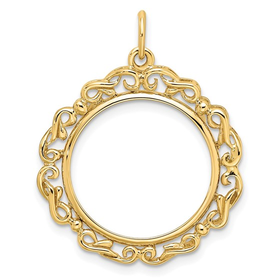 14K Polished Double Scroll 17.8 mm Prong Coin Bezel