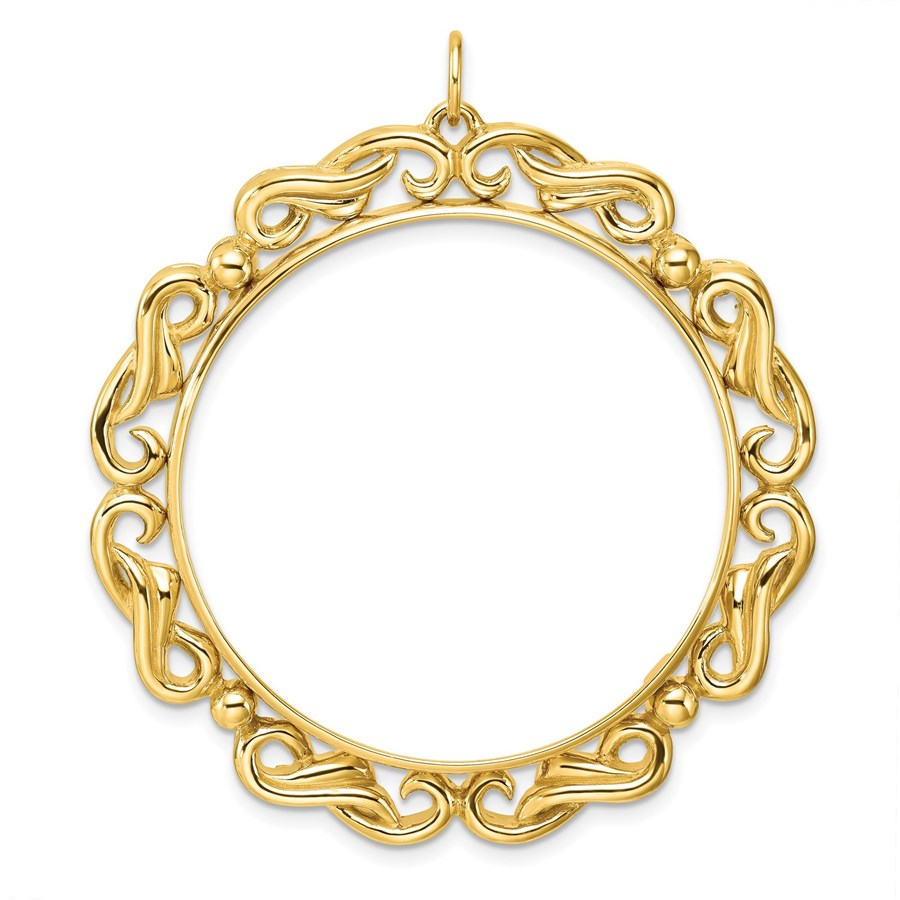 14K Polished Double Scroll 34.2 mm Prong Coin Bezel