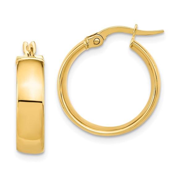 14K Polished Earrings - 20 mm
