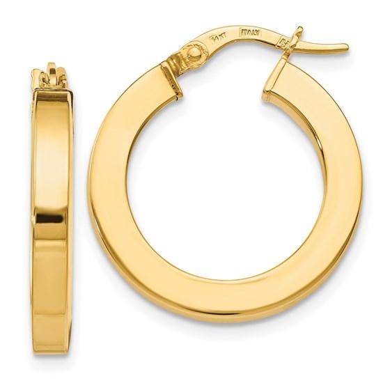 14K Polished Earrings - 22 mm