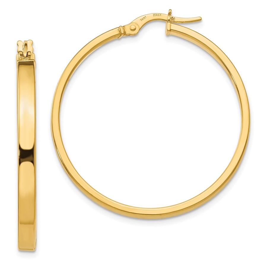 14K Polished Earrings - 36 mm