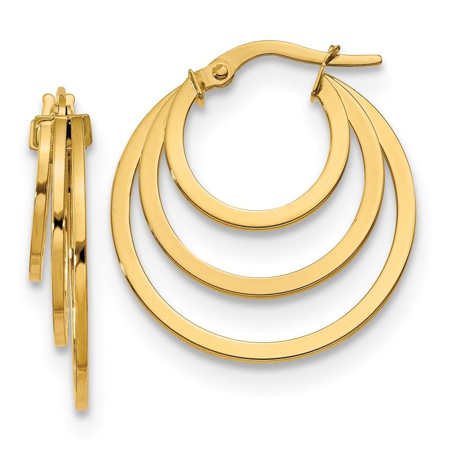 14K Polished Fancy 3 Hoop Earrings - 23.5 mm