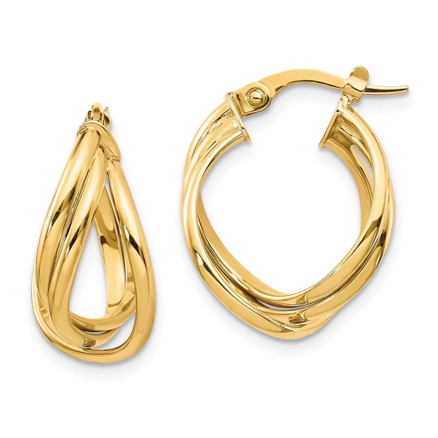 14K Polished Fancy Hoop Earrings - 20 mm