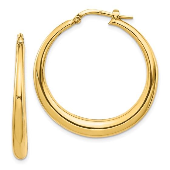 14K Polished Fancy Hoop Earrings - 22 mm
