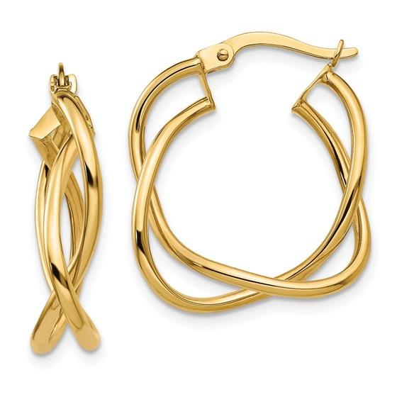 14K Polished Fancy Hoop Earrings - 23.9 mm