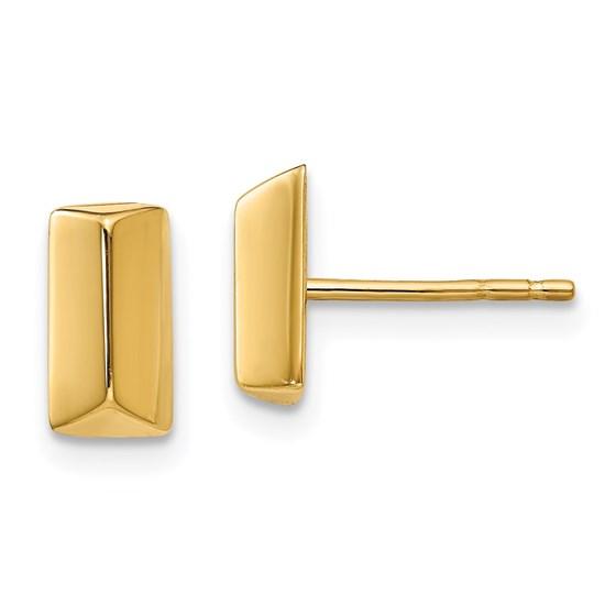 14K Polished Fancy Post Earrings - 8.6 mm