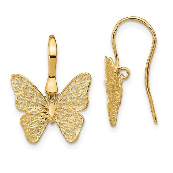 14K Polished Filigree Butterfly Earrings - 19.1 mm
