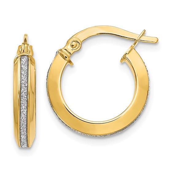 14K Polished Glimmer Infused Hoop Earrings - 14 mm
