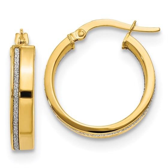 14K Polished Glimmer Infused Hoop Earrings - 20.5 mm