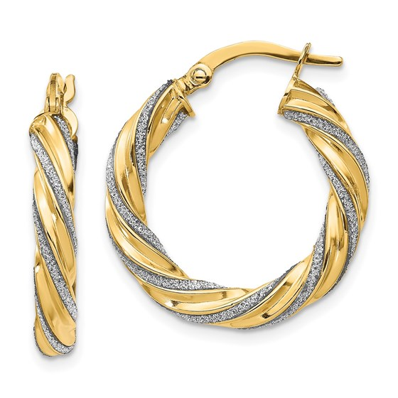 14K Polished Glimmer Infused Hoop Earrings - 23 mm