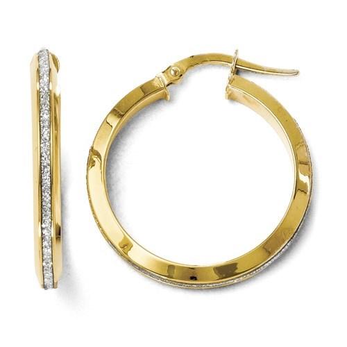 14K Polished Glimmer Infused Hoop Earrings - 24 mm