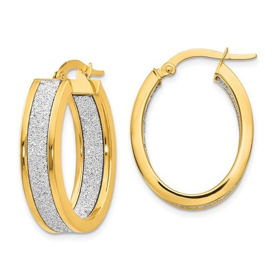 14K Polished Glimmer Infused Oval Hoop Earrings - 26 mm