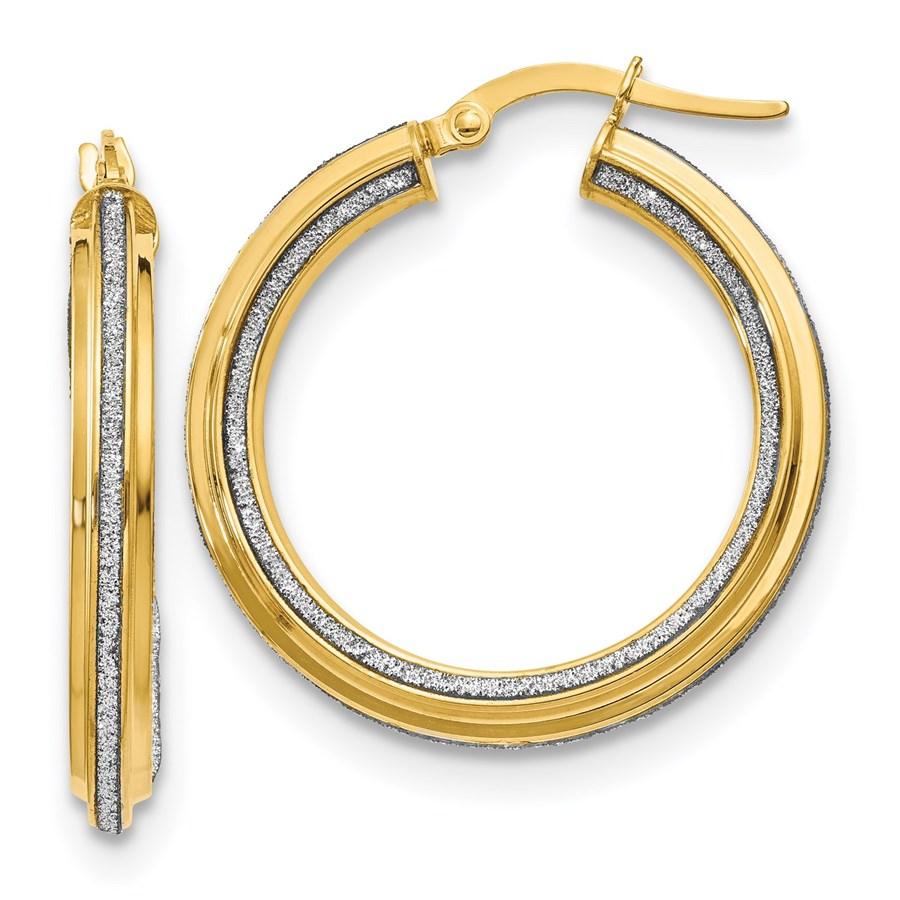 14K Polished Glimmer Infused Textured Hoop Earrings - 29 mm