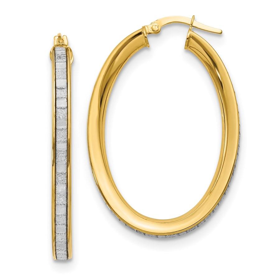 14K Polished Glimmer Infused Textured Hoop Earrings - 39 mm