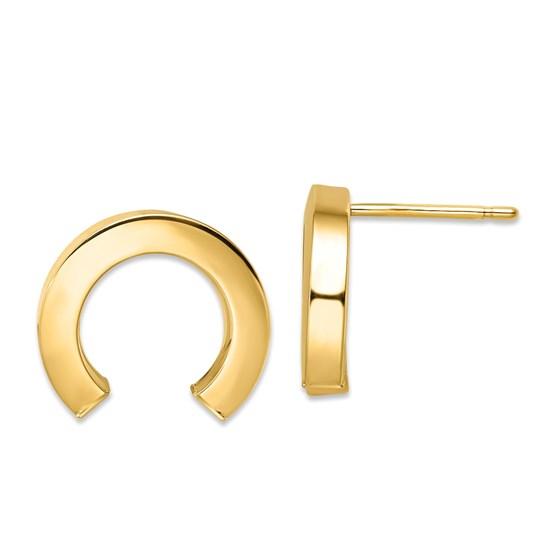 14K Polished Half Circle Post Earrings - 14.5 mm