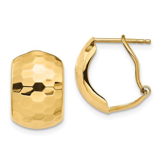 14K Polished Hammered Omega Back Earrings - 14.7 mm