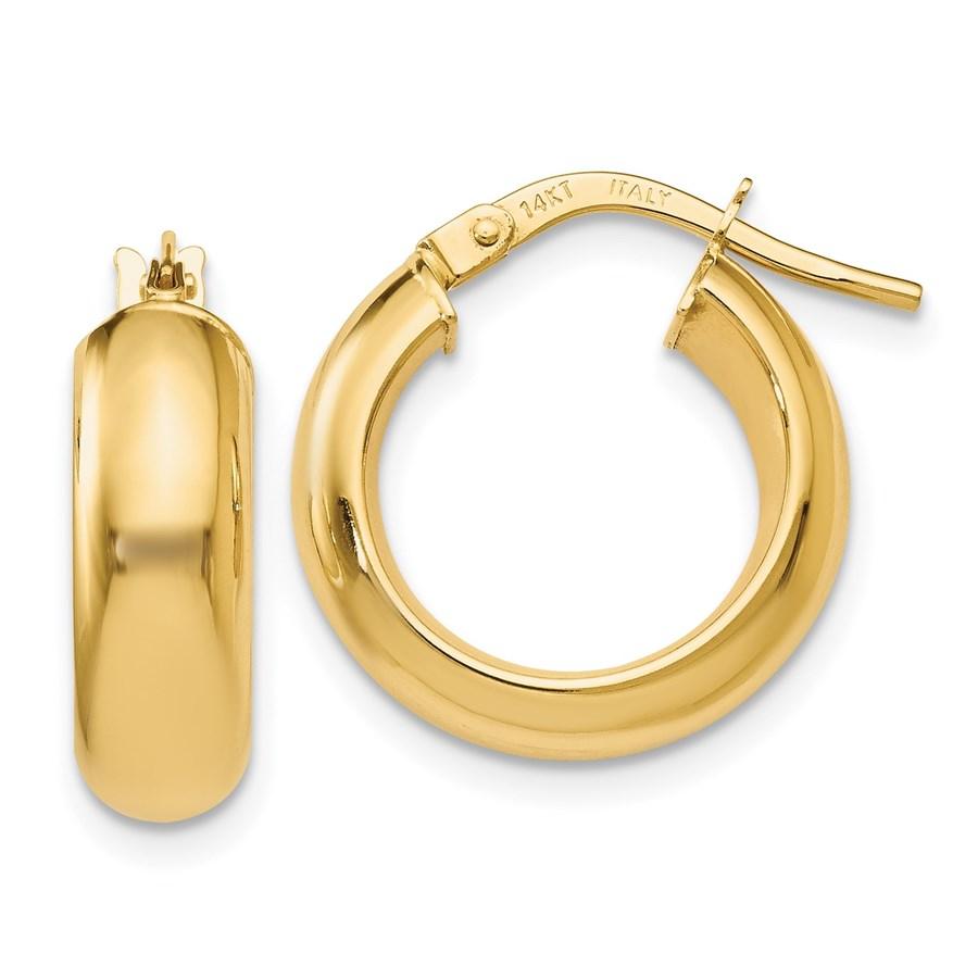 14K Polished Hoop Earrings - 17 mm